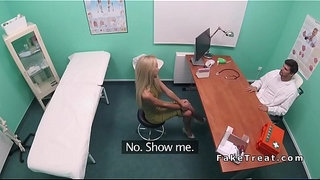 Slim-blonde-bangs-doctor-in-office