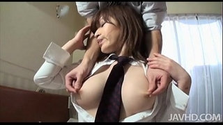Adorable-Yuu-gives-her-boss-a-blowjob-and-he-leaves-her-sticky-with-cum