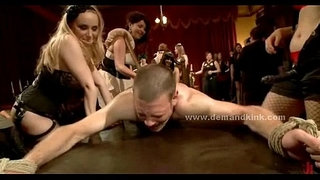 Man-sex-slave-in-middle-of-mistress-ritual-is-forced-to-fuck-in-sado-maso-femdom