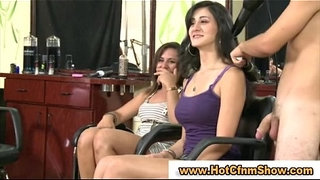 Clothed-babes-give-naked-guy-a-handjob-in-reality-groupsex