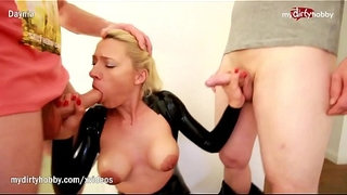 My-Dirty-Hobby---Latex-bitch-takes-2-big-rods