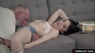 Brunette-Mia-Evans-gives-head-and-gets-fucked-by-a-grandpa