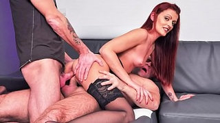 LA-COCHONNE---Double-penetration-threesome-for-slutty-French-redhead-Lola-Candy