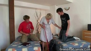 Two-lads-bang-very-old-cleaning-woman