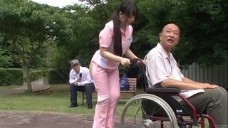 Subtitled-bizarre-Japanese-half-naked-caregiver-outdoors