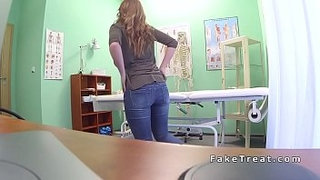 Brunette-sits-on-and-rides-doctors-dick