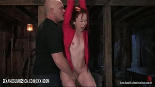 Bondage-girl-gets-orgasm-with-fingers-from-bald-man