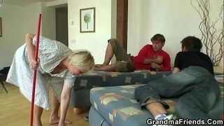Blonde-granny-swallows-two-cocks