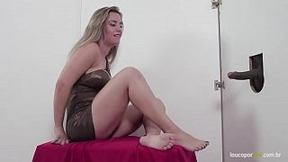 Brazilian-blonde-gives-footjob-in-the-gloryhole!-Lilith-Scarlett-foot-fetish!