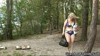Old-bitch-takes-two-cocks-outdoors