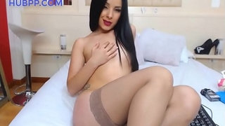 hot-latina-slut-in-webcam-sex-show,-dildo-fuck,-squirt-and-orgasm-in-tan-stockings,-great-legs