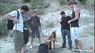 Sexy-ass-Brunette-teased-and-gets-forced-gangbang-in-woods